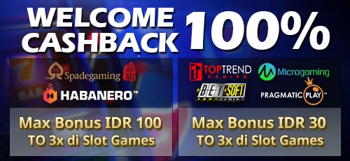 Cashback Penyambutan 100 Slot Games Wcb100