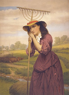 Print shows Maud Muller, John Greenleaf Whittier's heroine in the poem of the same name, leaning on her hay rake, gazing into the distance. Behind her, an ox cart, and in the distance, the village.