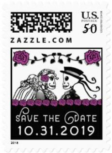 Halloween Wedding Skeletons Custom Postage Save the Date Purple Roses Horizontal Small Postage
