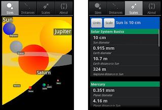 comparação de tamanhos do Sistema Solar - SOLAR SIZER - aplicativo android