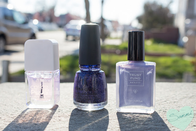 Formula X Shine Nail Top Coat, China Glaze Nail Polish in Skyscraper, Trust Fund Beauty Nail Polish in Elegantly Wasted - March Favorites