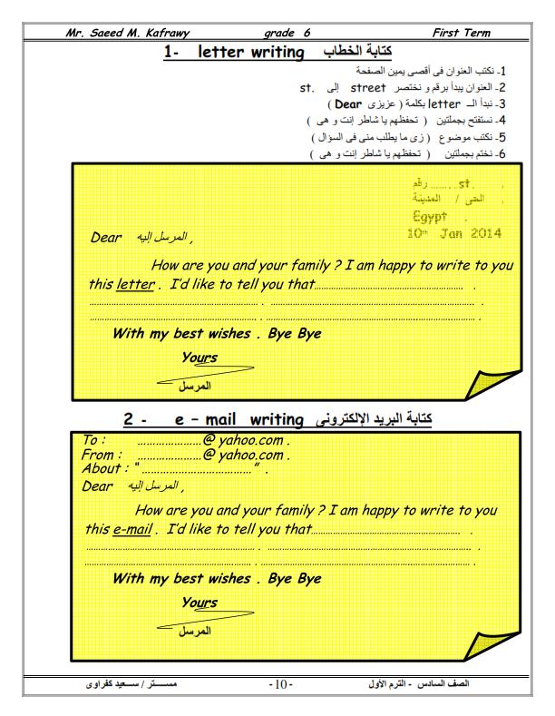 تحميل مذكرات تشرح كيف تكتب وتتقن الايميل للصف السادس الابتدائى E-mail-primary-6
