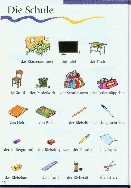 el aleman no es dificil vocabulario la escuela die schule. Black Bedroom Furniture Sets. Home Design Ideas