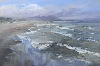 Morning on the beach, seascape plein air oil painting by Philine van der Vegte