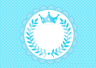 Light Blue Crown in Stripes and Polka Dots  Free Printable Invitations for a Quinceanera Party.