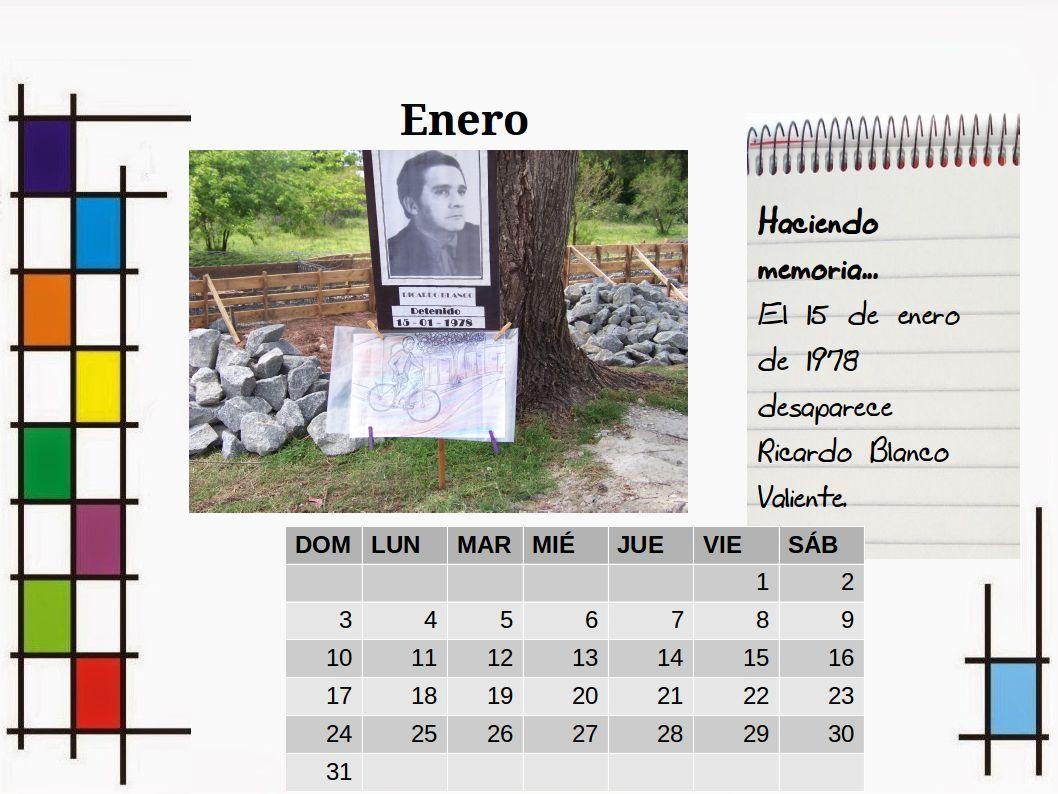 Calendario Enero 1978.Comision Memoria Justicia Y Contra La Impunidad Soriano