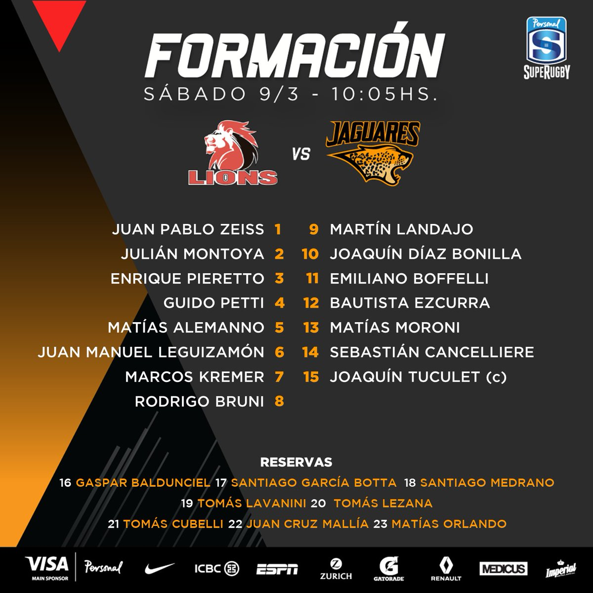 Formación de Jaguares ante Lions #LIOvJAG #ViviJaguares #PersonalSuperRugby