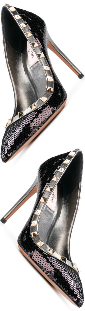 VALENTINO Rockstud Sequin Pumps in Nero