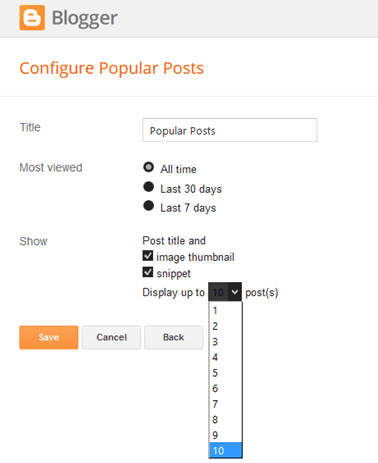 Configuring Popular Posts Widget for Blogger