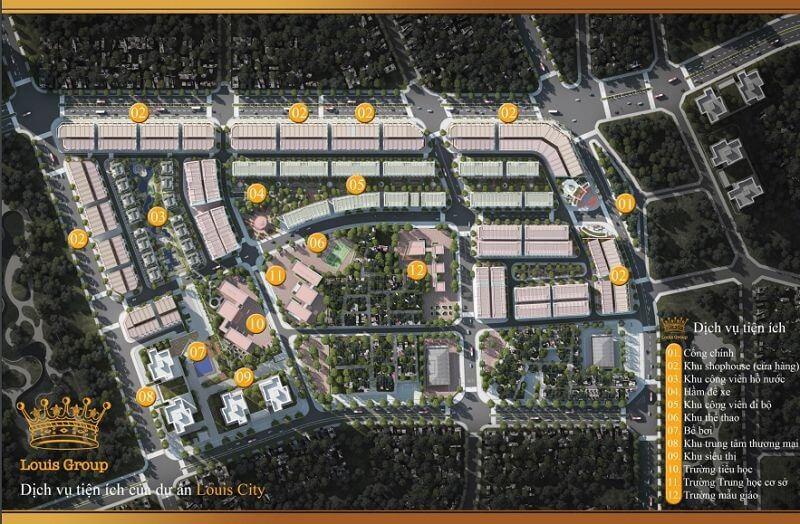 Phối cảnh tiện ích tổng thể của dự án Louis City Lã Vọng.