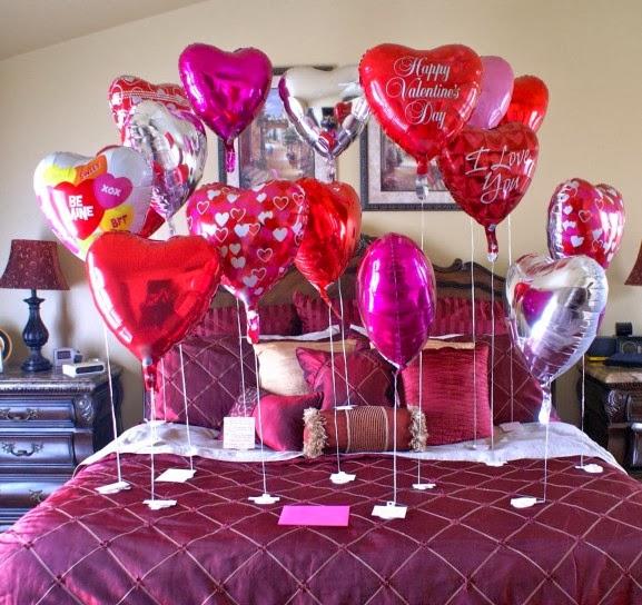Dormitorio decorado en San Valentín