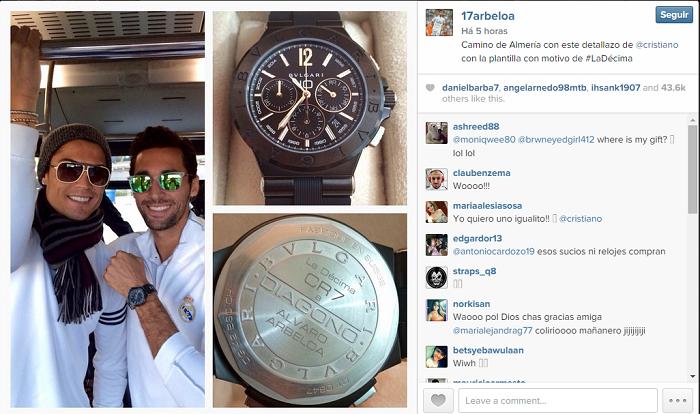 36debec3d8 Cristiano Ronaldo presenteia elenco de Real Madrid com relógio de R  22 mil  ~ FutGestão