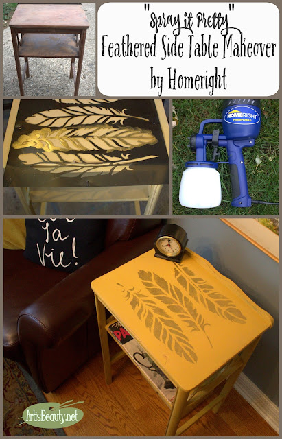"Feathered Side Table Makeover ""SPRAY IT PRETTY"""
