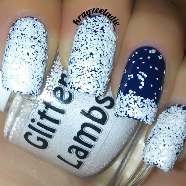 Christmas custom handmade indie lacquer for the holiday season. White glitter nails for Christmas.