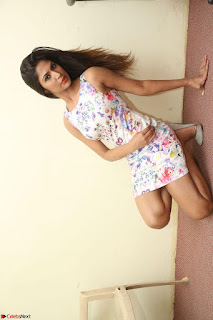 Nishi Ganda stunning cute in Flower Print short dress at Tick Tack Movie Press Meet March 2017 077.JPG