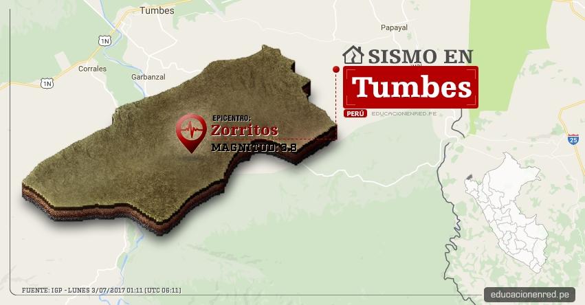Temblor en Tumbes de 3.8 Grados (Hoy Lunes 3 Julio 2017) Sismo EPICENTRO Zorritos - Contralmirante Villar - IGP - www.igp.gob.pe