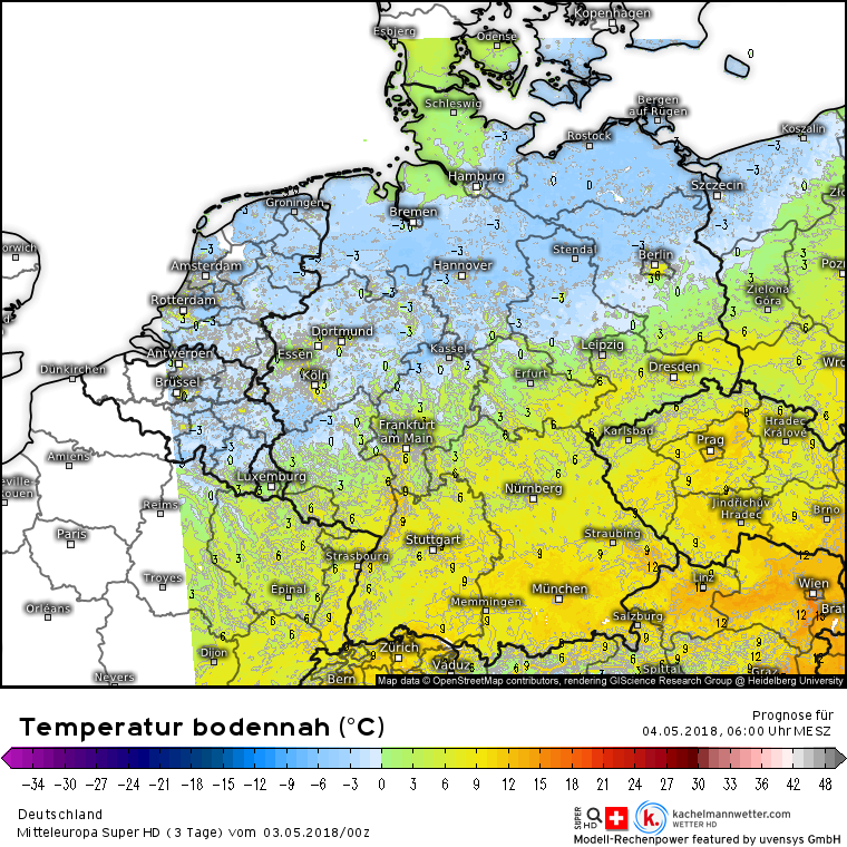 Temperaturen in Bodennähe am Freitagmorgen
