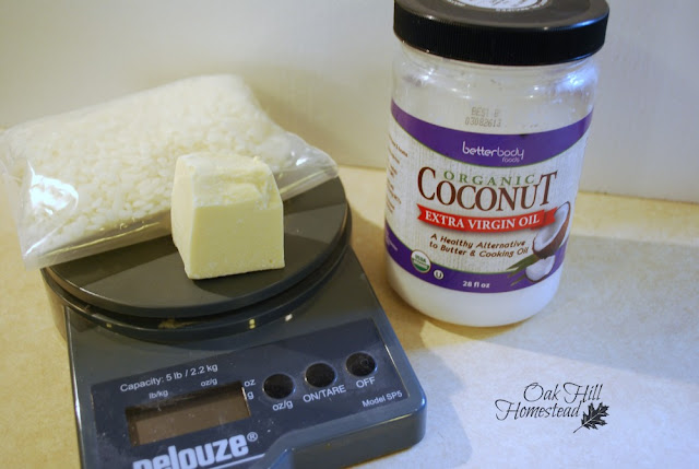 Make hard lotion bars with coconut oil, cocoa butter, and beeswax.