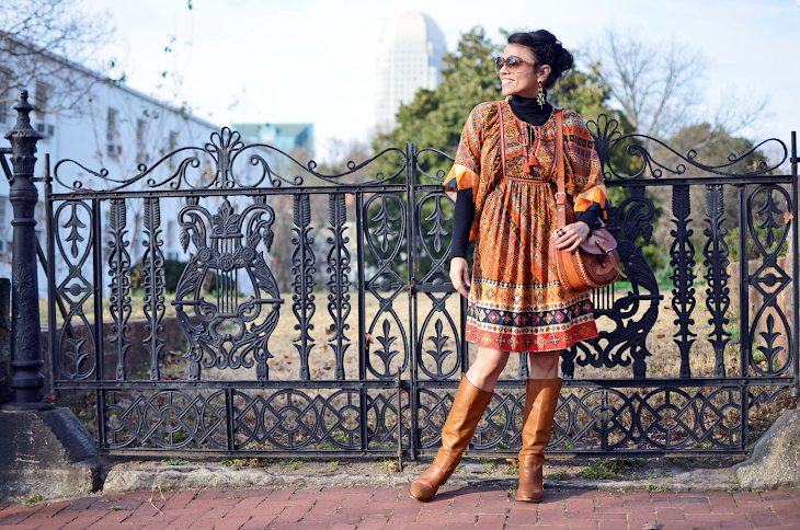 ANTHROPOLOGIE TASSELS DRESS GUCCI CARAMEL BOOTS