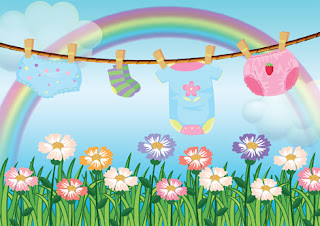 Clipart Image of Baby Clothes on a Line on a Summer Day