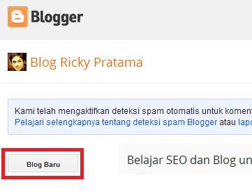 klik tombol blog baru untuk mulai membuat blog