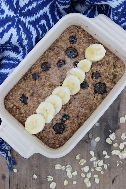 baked banana and blueberry porridge