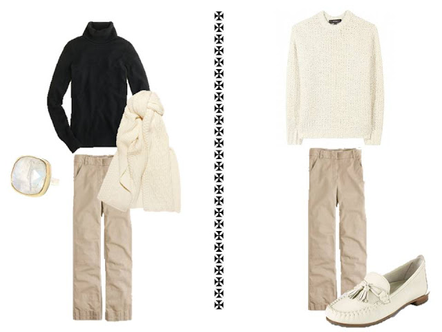 2 outfits using winter white with a basic neutral wardrobe
