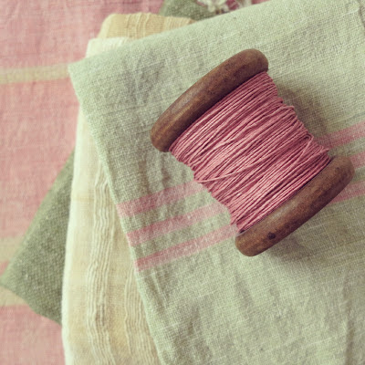 ByHaafner, bobbin with paper yarn, Paperphine, pastel, woven Laos fabrics,