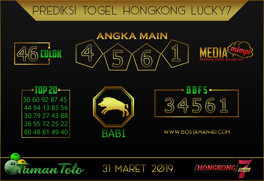Prediksi Togel HONGKONG LUCKY 7 TAMAN TOTO 31 MARET 2019