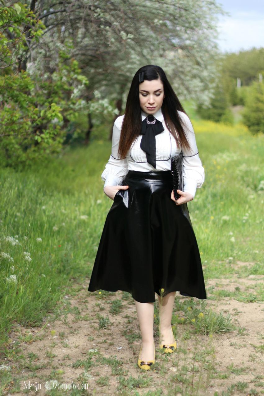 alışveriş-Karl Lagerfeld Kombini-deri etek-moda blogu-fashion blogger
