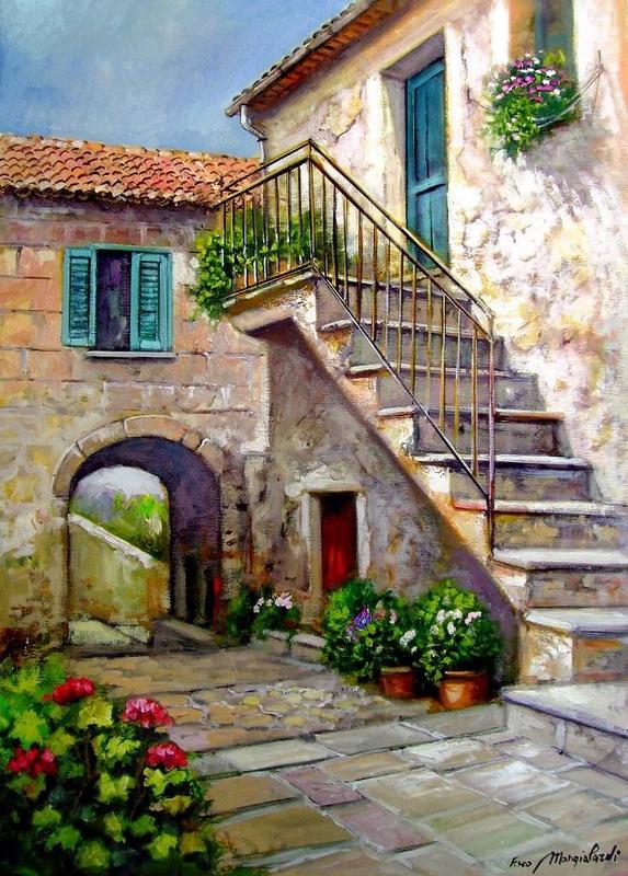 cuadros con escaleras paisajes con casas de escaleras arte en pinturas de paisajes con casas rsticas con escaleras imgenes de escaleras entradas