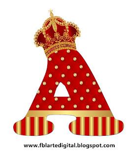 Abecedario Realeza con Corona Rojo y Dorado. Red and Gold Free Printable Alphabet with Crowns.