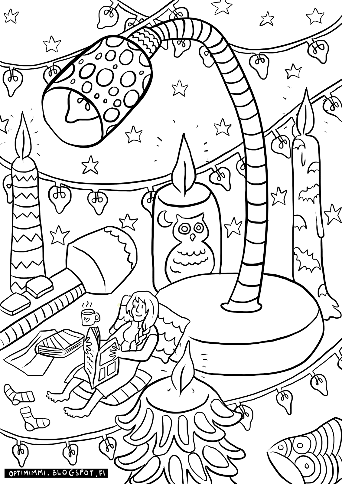 OPTIMIMMI: The reading lights (coloring page) / Lukuvalot