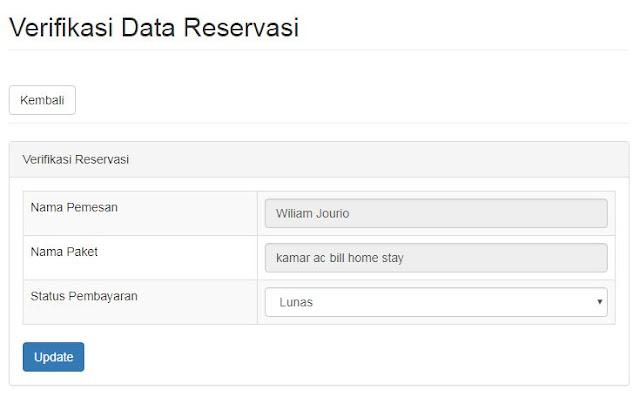 halaman untuk verifikasi data pemesanan