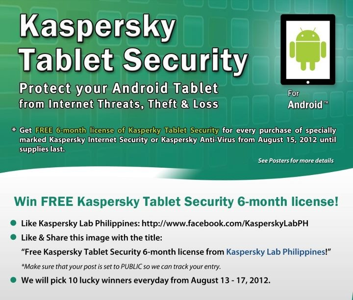 Free Kaspersky Tablet Security 6-month license from Kaspersky Lab Philippines
