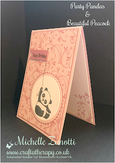 stampin' up! UK party pandas beautiful peacock happy birthday background layering circles framelits flag cute