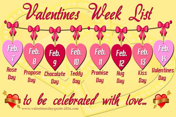 Valentine Day Week Date Sheet Pic