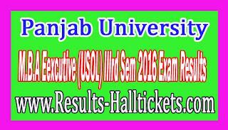 Panjab University M.B.A Eexcutive (USOL) IIIrd Sem 2016 Exam Results