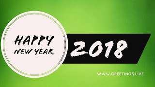 Happy New Year in white circle green BG
