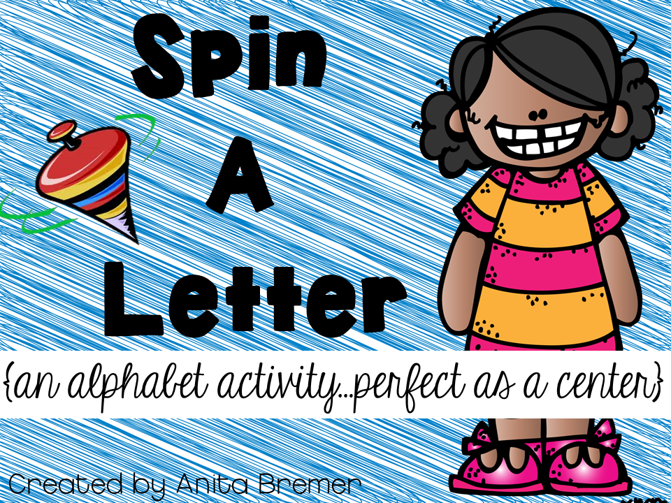 Spin a letter literacy activity center for Kindergarten