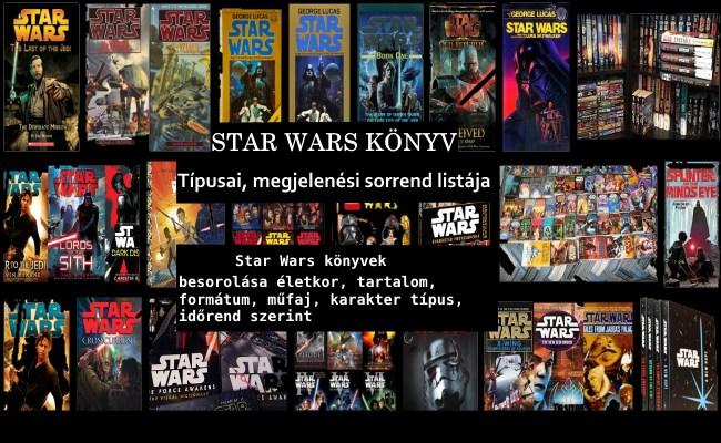 Star Wars könyv típusai, megjelenési sorrend listája