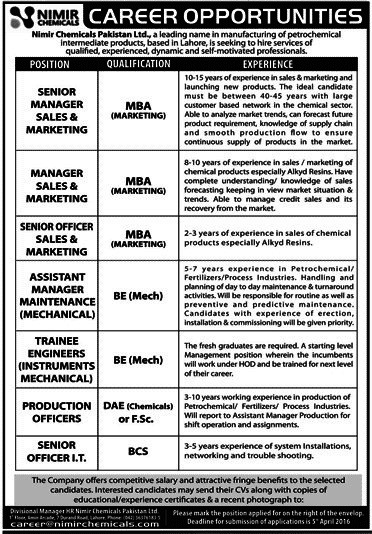 Nimir Chemicals Pakistan Limited 2016