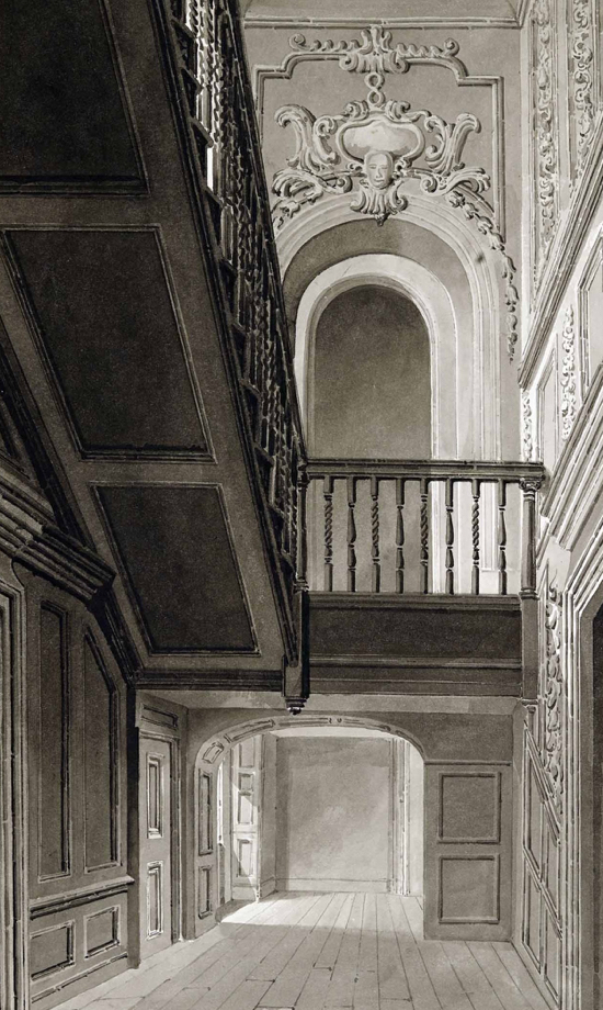 Drawing of Gobions staircase 1840 by Buckler given by NMLHS to The Images Of North Mymms Collection