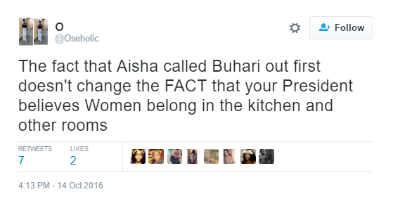 "7 Nigerians react to Buhari's comment that his wife ""belongs to the kitchen, living room"" news"