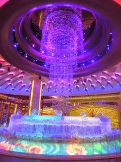 The elaborate and intricate fountain of the Fortune Diamond at Galaxy Hotel in Macau