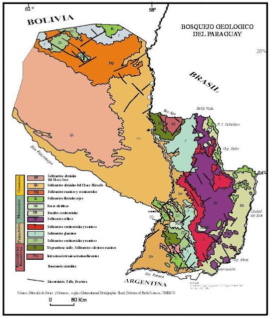 Mapa Geológico de Paraguay.