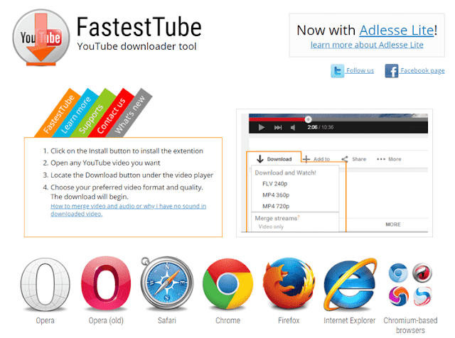 Download video menggunakan extensions FastestTube