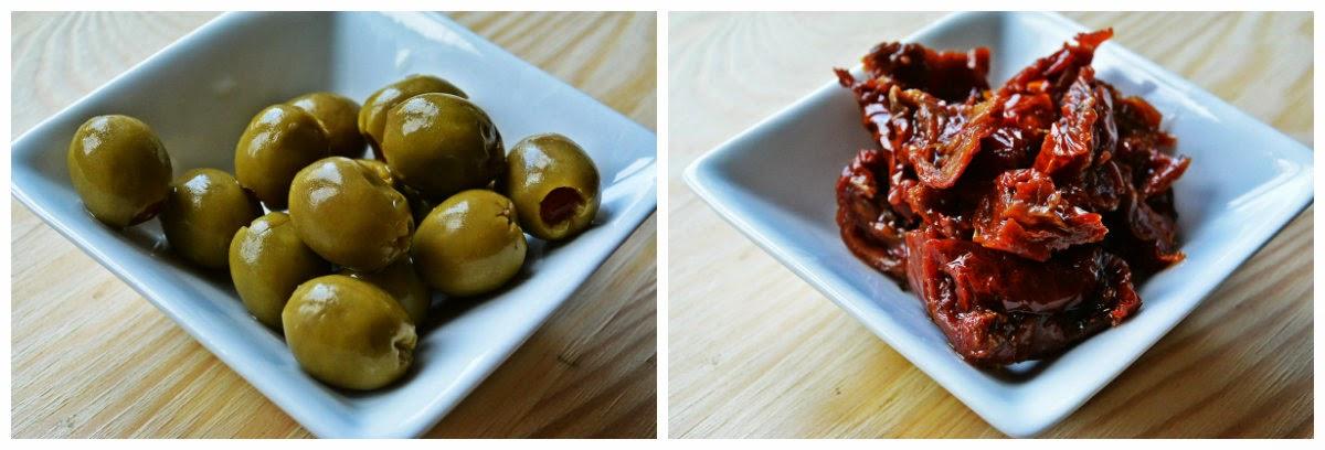 Szaszłyki na raz - oliwki i suszone pomidory
