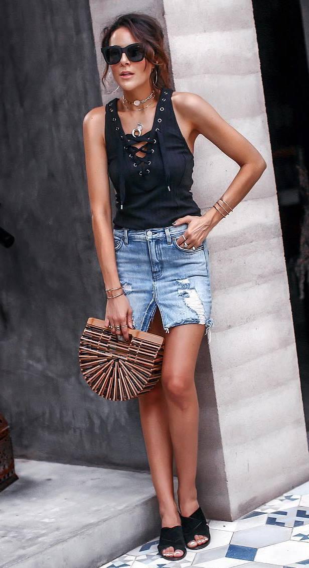 cool summer outfit / black lace up top + denim skirt + bag + black slides