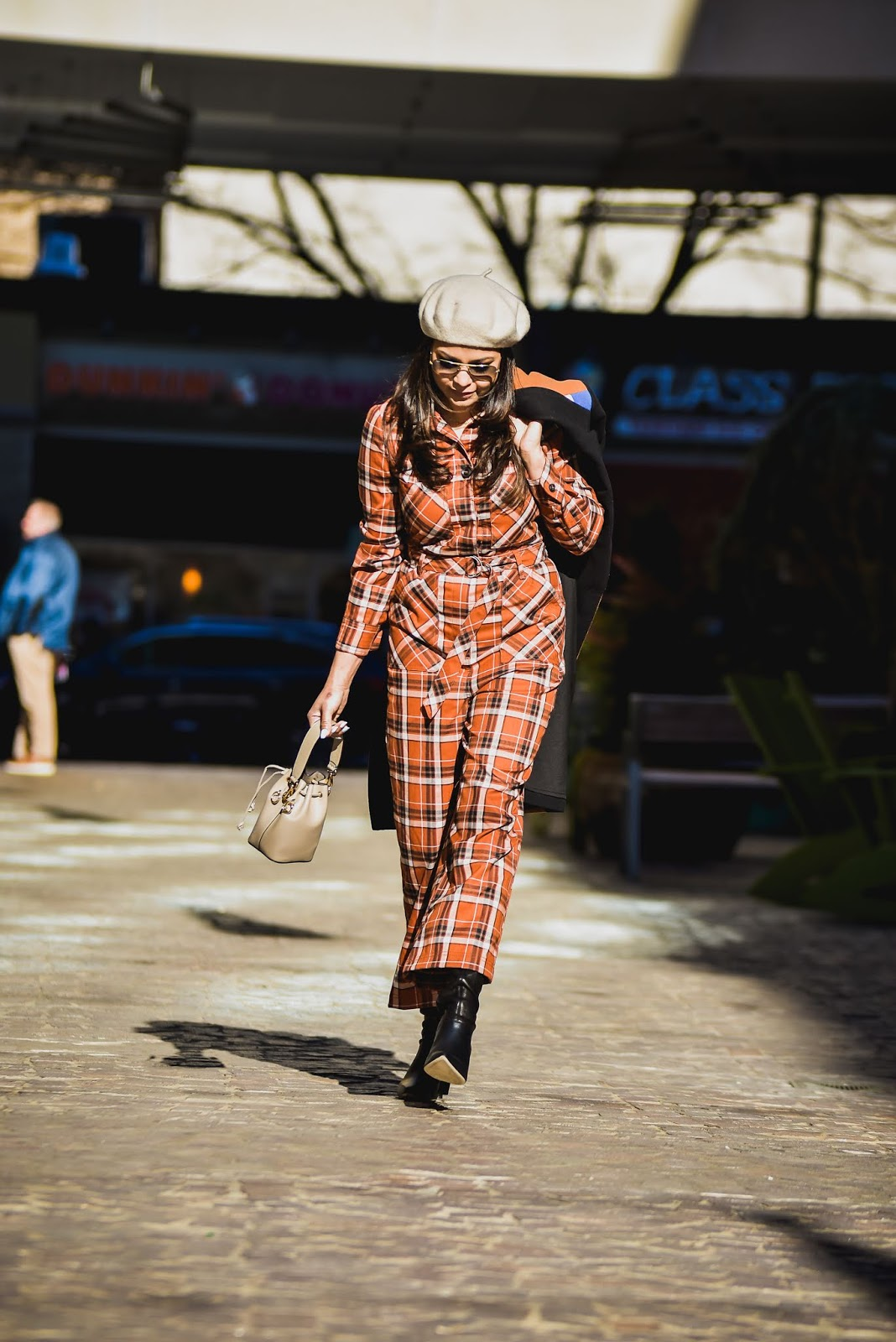 free people jumpsuit, fashion, street style, jumpsuit style, tibi boots, beret style, c/meo collective colorblock coat, myriad musings, saumya shiohare